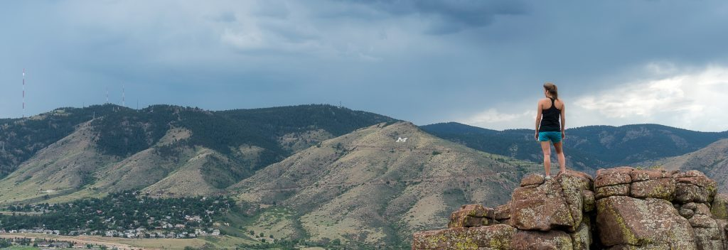 Hiker overlooking Lookout Mountain