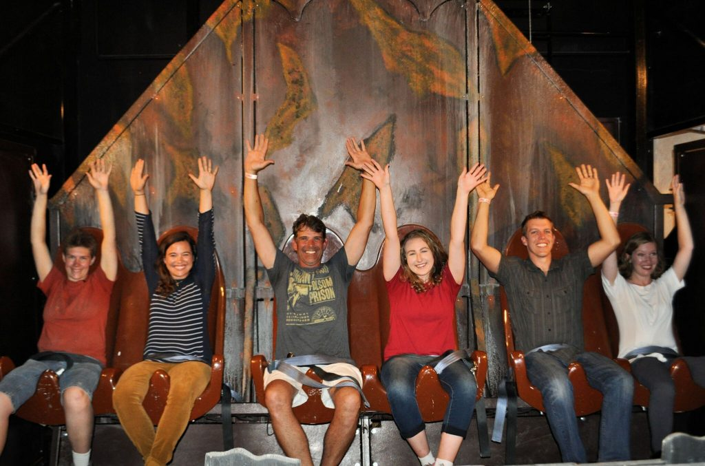 Riders on the Haunted Mine Drop at Glenwood Caverns_preview