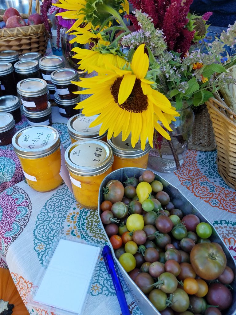 sunflowers and canned goodies