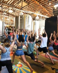 workout class in a brewery