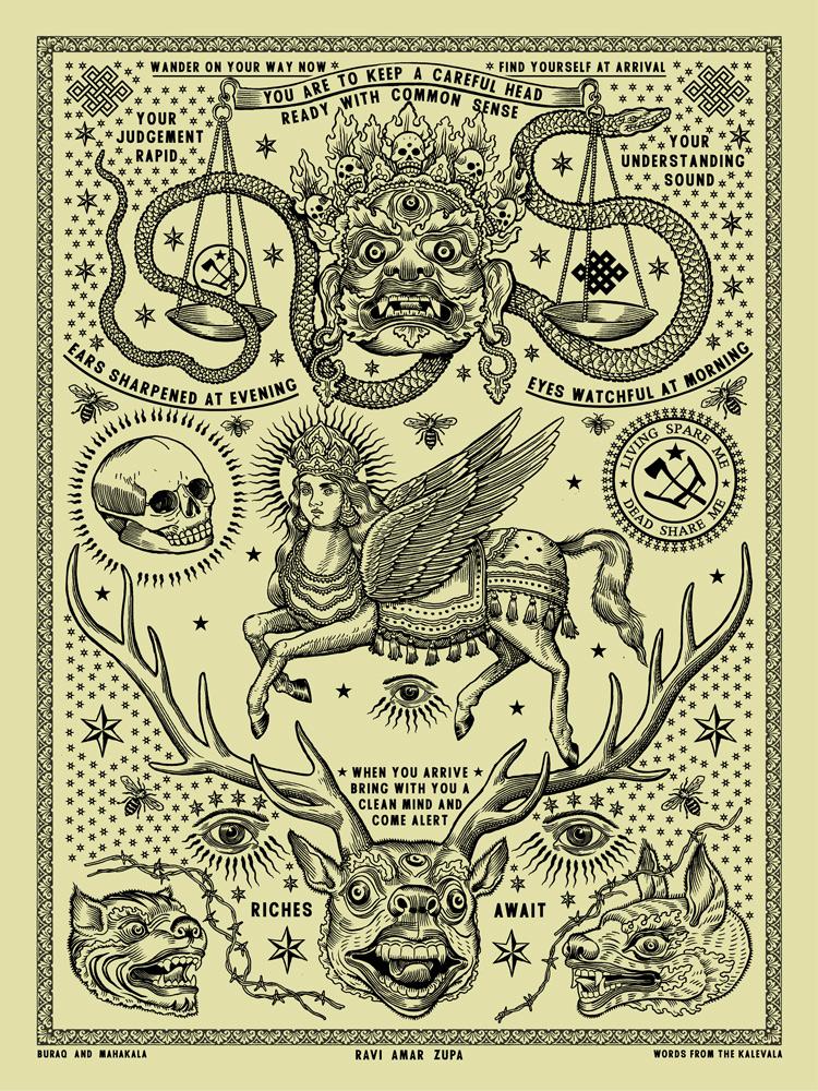 Buraq and Mahakala Tattoo Print - 1 Color