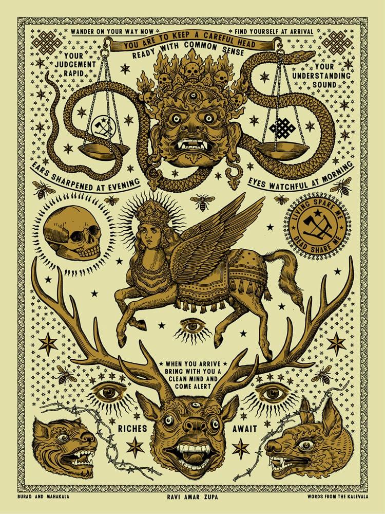Buraq and Mahakala Tattoo Print - 2 Color