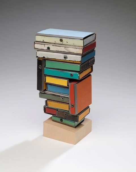 Ted Larsen, Stand Up, Buddha (K) salvage steel, wood and hardware 8 ½ x 4 x 3 in.